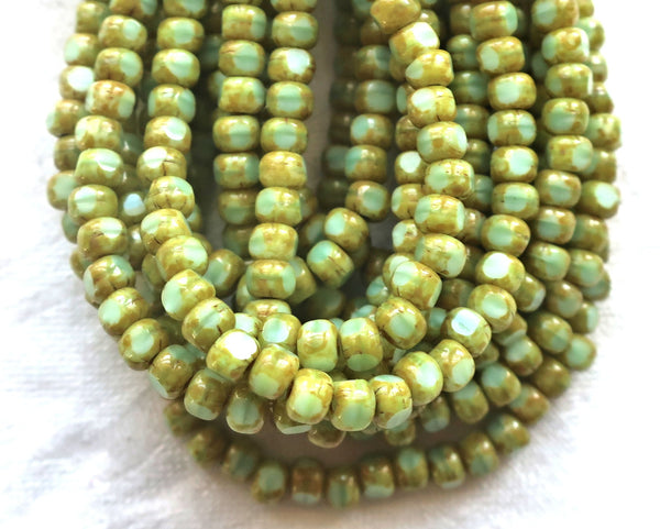 50 4 x 3mm, Tricut, Tri-cut, 3 cut Round Czech glass beads, mint green.picasso 6/0 seed beads C05101 - Glorious Glass Beads