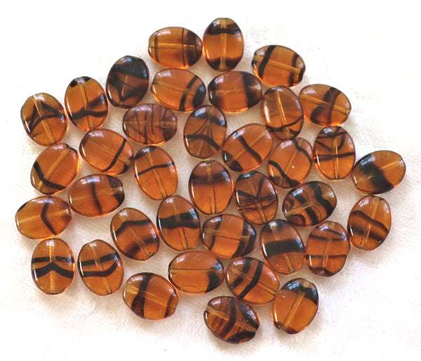 25 tortoiseshell Brown flat oval Czech Glass beads, 12mm x 9mm pressed glass beads C5425