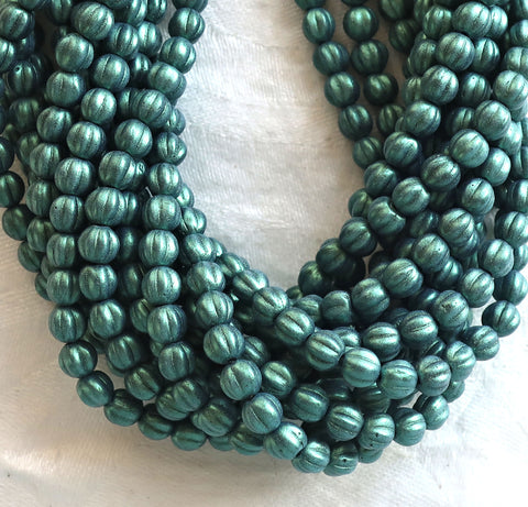 Fifty 5mm Czech glass melon beads, matte metallic light green suede pressed glass beads C9750 - Glorious Glass Beads