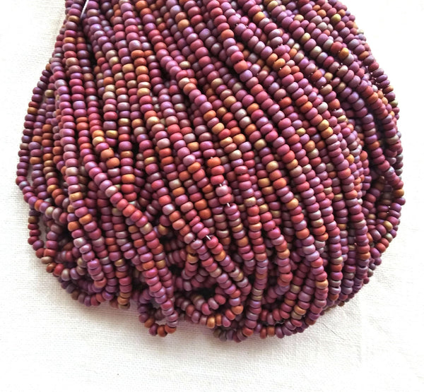 24 grams Czech glass seed beads - 6/0 light opaque red brown matte rainbow Preciosa Rocaille seed beads - C0097