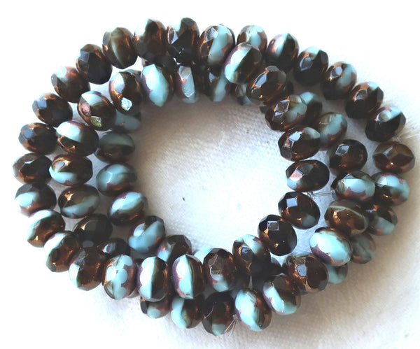 25 Czech glass puffy rondelle beads, 6 x 9mm, opaque brown & blue color mix faceted rondelles, bronze picasso finish C52325 - Glorious Glass Beads