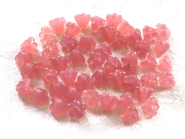 Lot of 50 6mm x 4mm Milky Pink baby Bell Flower Czech glass beads, pressed glass beads C02101