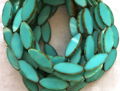 Ten 20 x 9mm, Sea-foam Green oblong, oval, table cut, picasso Czech glass spindle bead, large opaque almond shaped long tube beads C23201 - Glorious Glass Beads