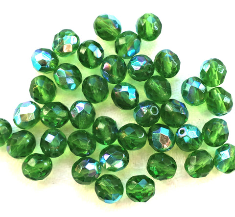 Lot of 25 8mm Peridot Green AB, faceted round firepolished glass beads C1625