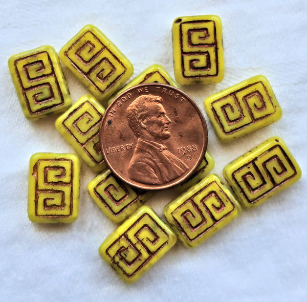 12 Czech glass rectangle beads - translucent yellow with a bronze wash - Greek key pattern rectangular beads - 13 x 9mm C0901 - Glorious Glass Beads