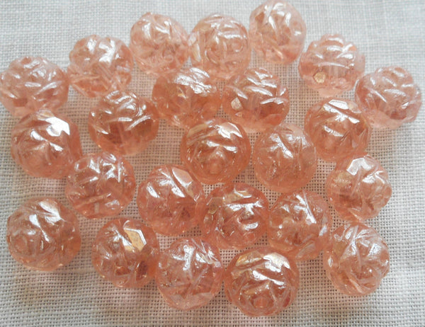 Twelve Luster Rosaline Pink 7 x 8mm Rosebud beads, faceted, firepolished, antique cut, Czech glass beads C2701