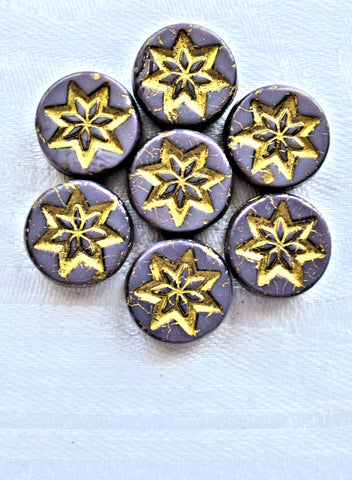 Fifteen 13mm opaque purple coin or disc beads with a silver wash - rustic, earthy star or flower Czech glass beads - 4.5mm thick C05201 - Glorious Glass Beads