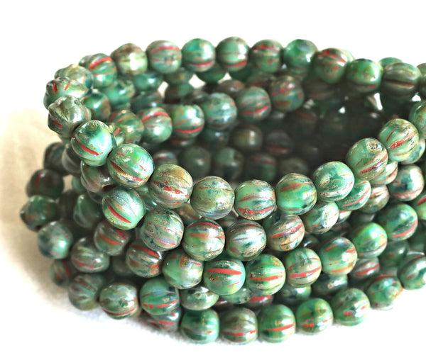 25 Green Stone picasso melon beads, 6mm pressed Czech glass beads C1801