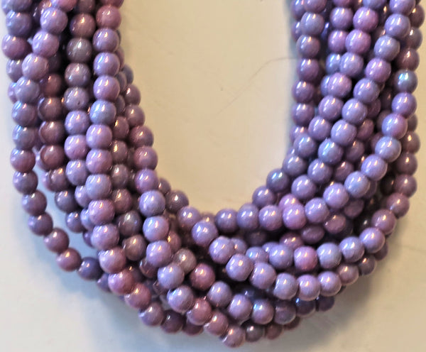Lot of 100 3mm Opaque Amethyst Luster Czech glass druk beads, opaque purple luster smooth round druks, C3301