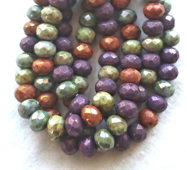 Lot of 25 Czech glass faceted puffy rondelle beads, 5 x 7mm opaque purple, green & orang eluster mix, rustic earthy rondelles C00201 - Glorious Glass Beads