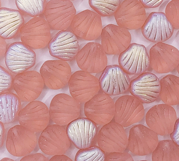 Twenty Czech glass seashell, fan or clam beads - 8mm matte rosaline pink AB shell beads - C0099