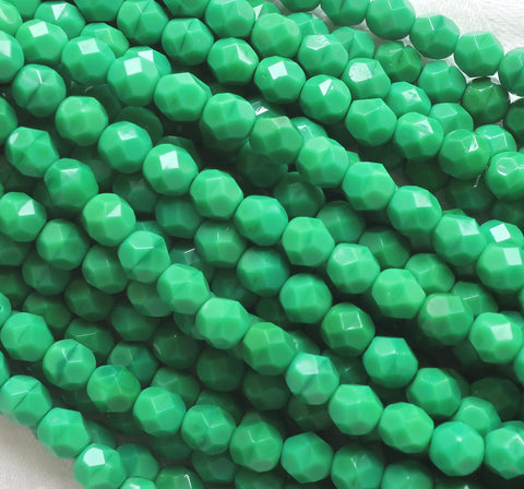 Lot of 25 6mm Opaque Grass or Kelly green Czech glass beads, firepolished, faceted round beads, C0625