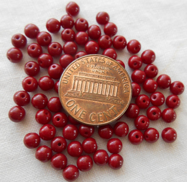50 4mm Czech Opaque Blood Red smooth round druk beads, deep red glass beads C5350 - Glorious Glass Beads