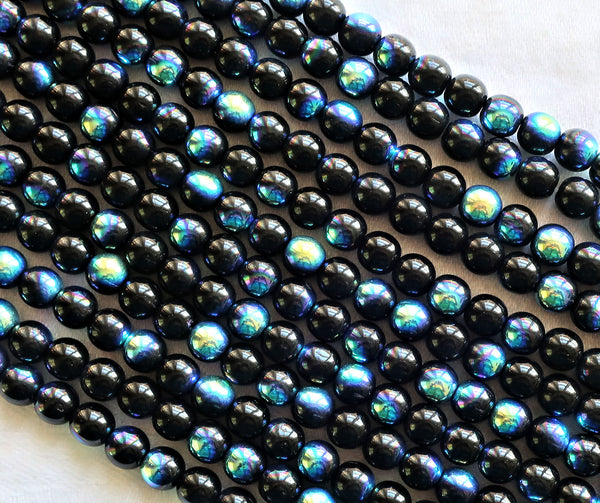 Lot of 50 Czech glass druks - 6mm Jet Black AB - smooth round druk beads,C8850 - Glorious Glass Beads