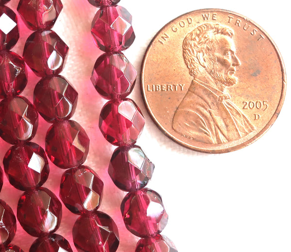 Lot of 25 6mm Czech glass beads, transparent fuchsia, deep, dark pink faceted,, firepolished, round beads 8725