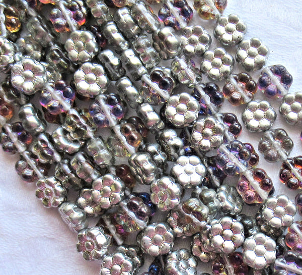 Lot of 25 8mm Amethyst / Silver Czech glass flower beads - purple & silver pressed glass flower beads - C5301 - Glorious Glass Beads