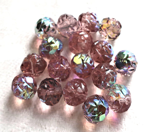 Twelve Light Amethyst AB 7 x 8mm Rosebud beads, faceted, firepolished, antique cut, Czech glass beads C2701