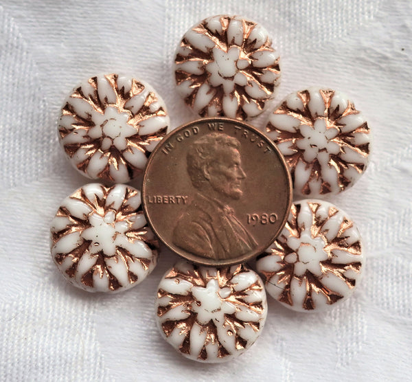 Five Czech glass Dahlia flower beads, opaque white with a copper wash - 14mm floral disc or coin beads C00105