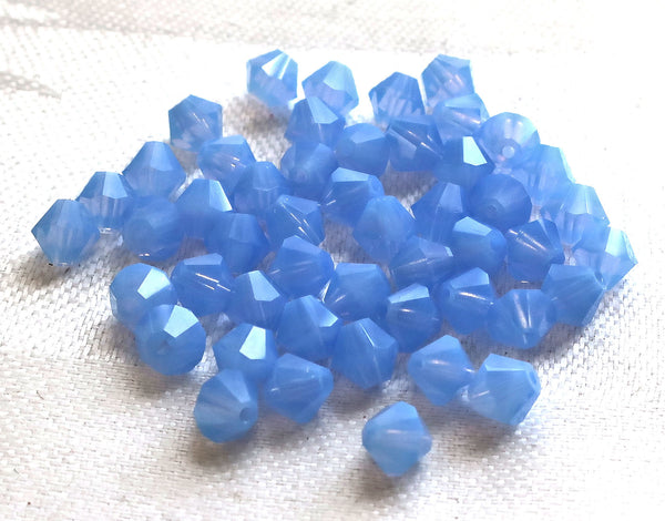 Lot of 24 6mm Milky Blue Opal Czech Preciosa Crystal bicone beads, faceted glass blue bicones C4801