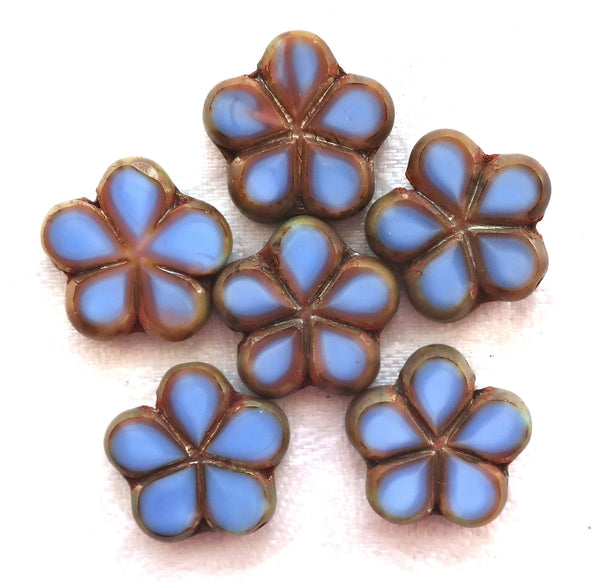 Lot of five 17mm table cut, carved,opaque, denim blue with pink / brown picasso accents, Czech glass flower beads C53105