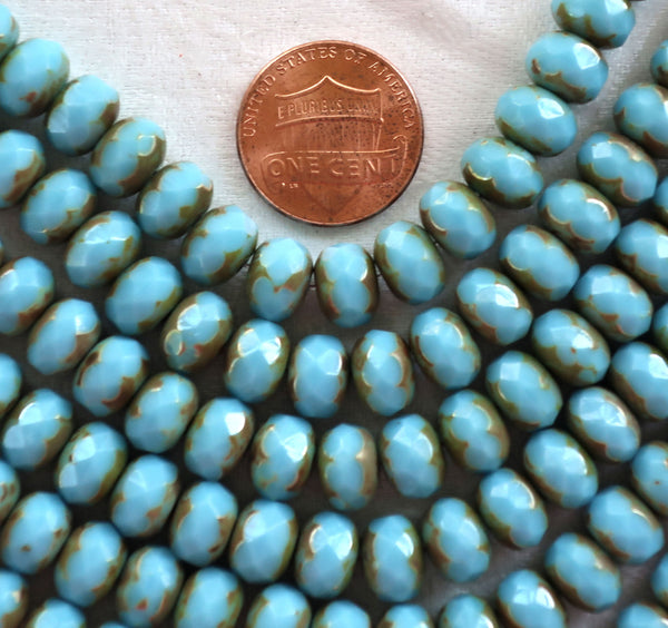 25 6 x 9mm Czech Turquoise Blue Picasso Faceted Puffy Rondelle Beads, blue Czech glass beads C28125 - Glorious Glass Beads