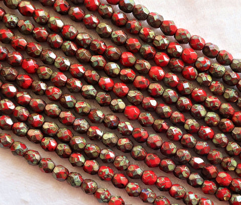 Lot of 50 4mm round - faceted- firepolished - Czech glass beads - Opaque Red w/ full picasso coat - earthy - rustic beads C2601 - Glorious Glass Beads