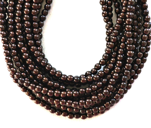 Lot of 100 3mm Chocolate Bronze Czech glass druks, smooth round dark brown druk beads C0601