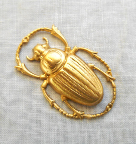 1 raw brass stamping, extra large Victorian beetle, scarab, bug pendant, charm, connector, ornament, 55mm x 34mm, made in the USA C54101 - Glorious Glass Beads