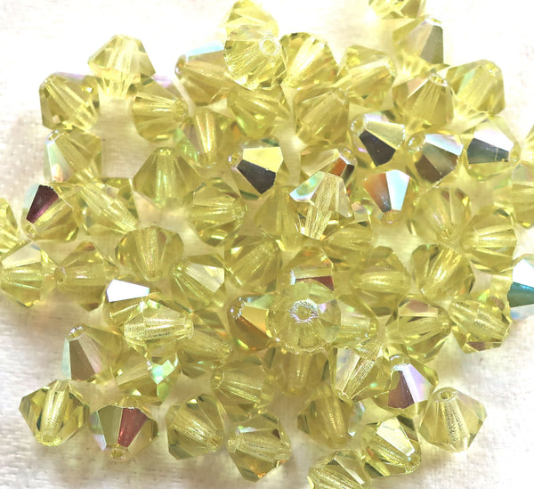 Lot of 24 6mm Czech Preciosa Crystal Jonquil AB glass faceted bicone beads, yellow AB bicones 11301