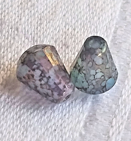 Lot of 15 Czech glass teardrop beads - blue opal with a marbled purple / gold finish - special cut 8 x 6mm faceted firepolished beads C82101