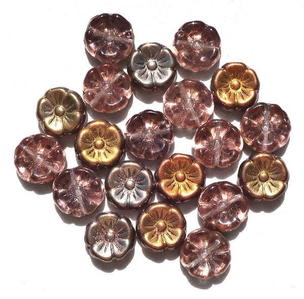 Lot of 20 12mm pink, apricot & taupe iridescent metallic Czech glass flower beads, pressed glass Hawaiian flowers, C06101