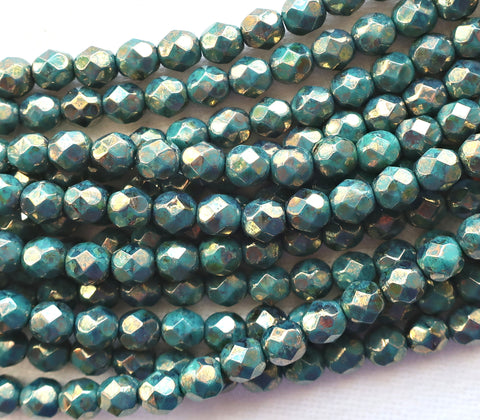 25 6mm Persian Turquoise Bronze Picasso Czech glass beads, firepolished, faceted round beads, C4825 - Glorious Glass Beads
