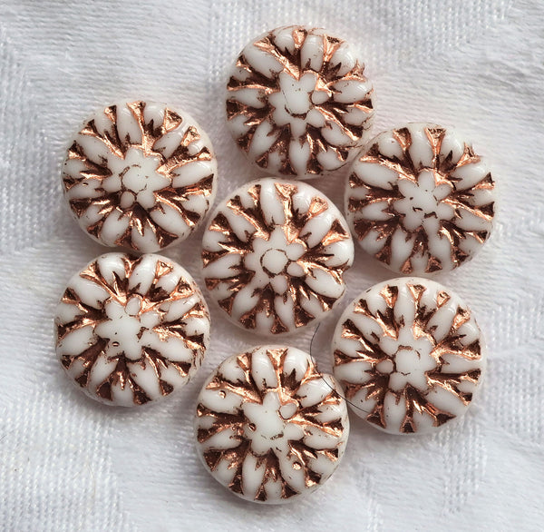 Five Czech glass Dahlia flower beads, opaque white with a copper wash - 14mm floral disc or coin beads C00105 - Glorious Glass Beads
