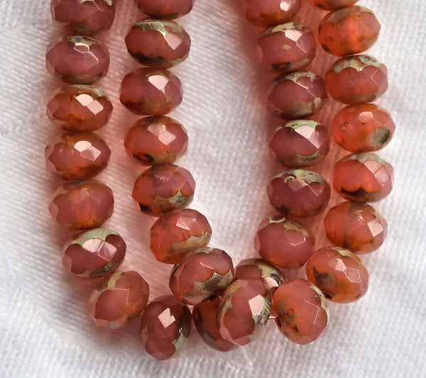 25 Czech glass faceted puffy rondelle beads - 5 x 7mm translucent salmon pink picasso rondelles 00201 - Glorious Glass Beads