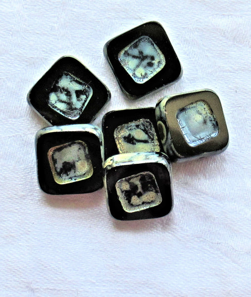 Four large opaque black picasso Czech glass square beads - 14 x 14mm table cut, carved, chunky, rustic, earthy beads C4801 - Glorious Glass Beads