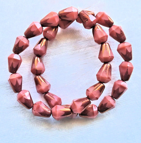 Lot of 15 8 x 6mm Czech glass teardrop beads - opaque silky pink & bronze - special cut, faceted, firepolished beads C07101