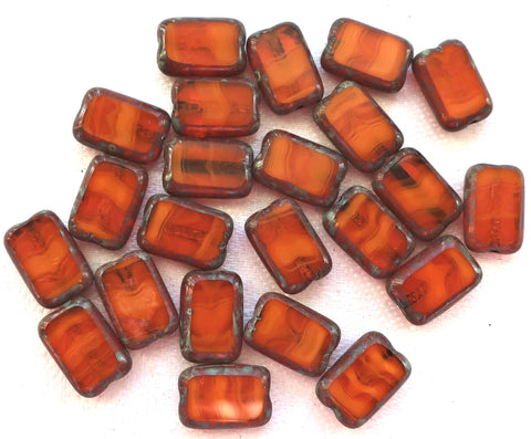 Lot of ten rectangular translucent, marbled Burnt Orange, Rust Picasso Czech glass rectangle beads, earthy, rustic table cut beads 12mm x 8mm, C11101