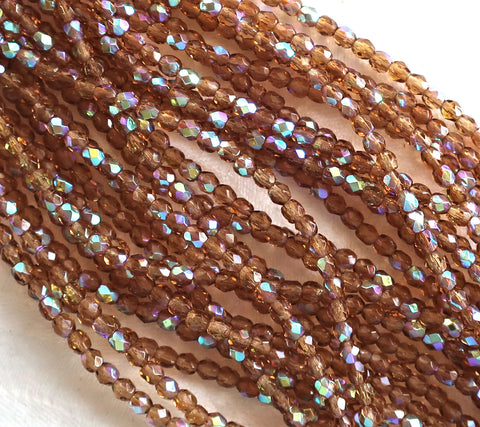 Lot of 50 3mm Czech glass beads, Smokey Topaz AB, brown, faceted round firepolished, beads C7401