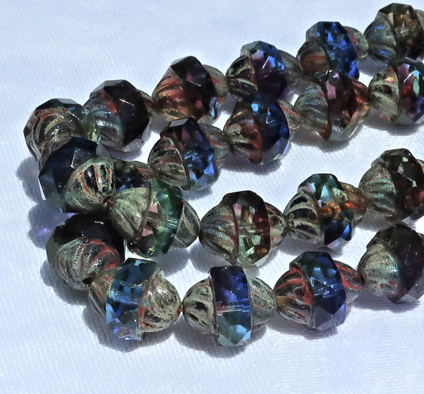 Ten Czech glass turbine beads - 11 x 10mm blue, purple / amethyst & green mix with a picasso finish C08101 - Glorious Glass Beads