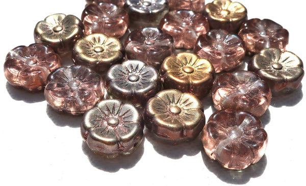 Lot of 20 12mm pink, apricot & taupe iridescent metallic Czech glass flower beads, pressed glass Hawaiian flowers, C06101 - Glorious Glass Beads