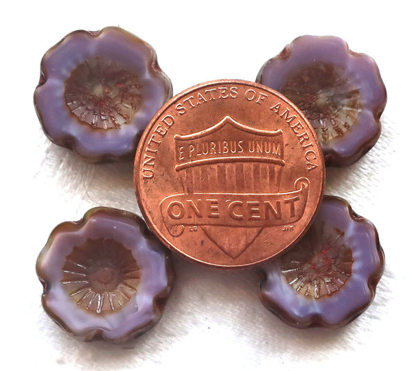Six 14mm Czech glass hibiscus Hawaiian flower beads, table cut, carved, opaque purple silk, lavender, lilac with a picasso finish C02106