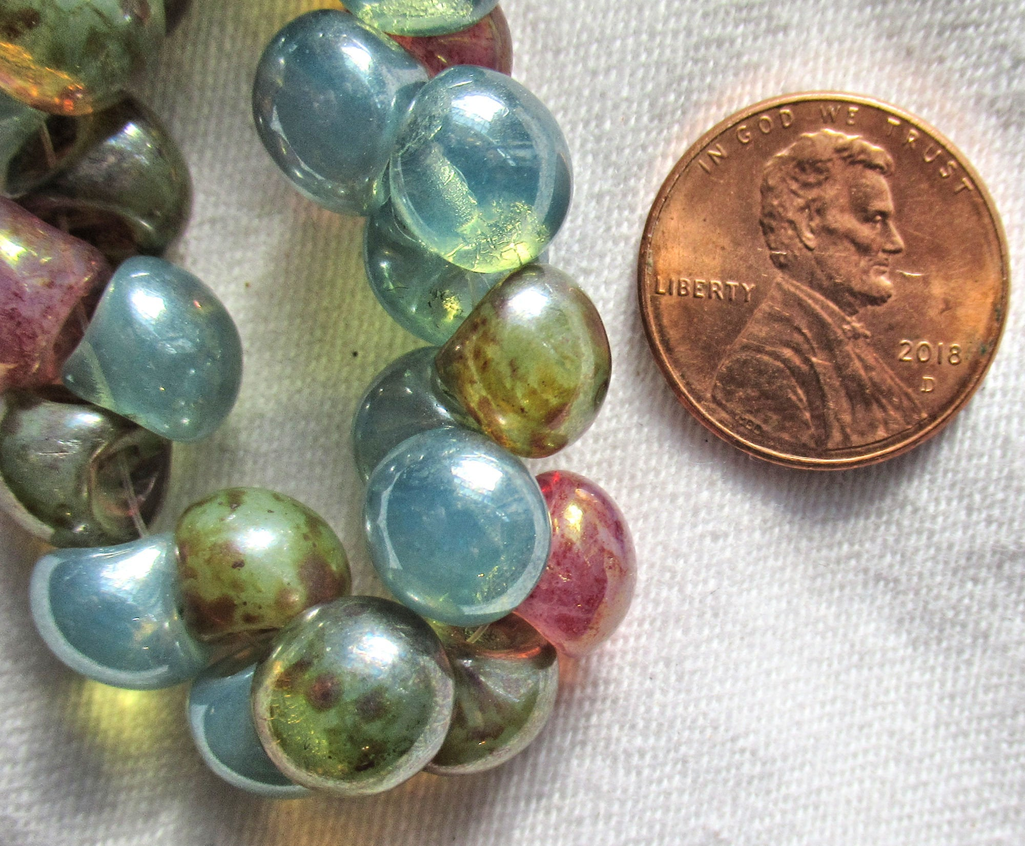 Seahorse Beads Czech Glass Blue Green Purple Picasso Glaze Translucent Opal Table Cut Animal Coin Mix 23MM 3 Beads CPETC002