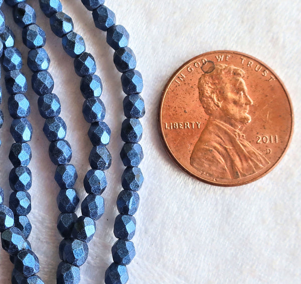 Lot of 50 3mm matte metallic suede blue Czech glass beads - faceted firepolished round beads C4601 - Glorious Glass Beads