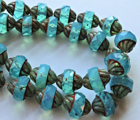Five Czech glass turbine beads, 11 x 10mm Aqua Blue Opal beads with a picasso finish, saturn beads C00101 - Glorious Glass Beads