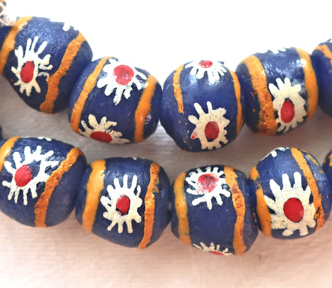 Lot of 5 African Krobo round glass flower beads, blue, white, red & orange, 11-13mm, big 2mm hole rustic, earthy beads
