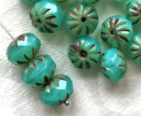 Ten Czech glass cruller beads, 7 x 10mm carved, faceted milky green turquoise picasso rondelles, sale price 08301