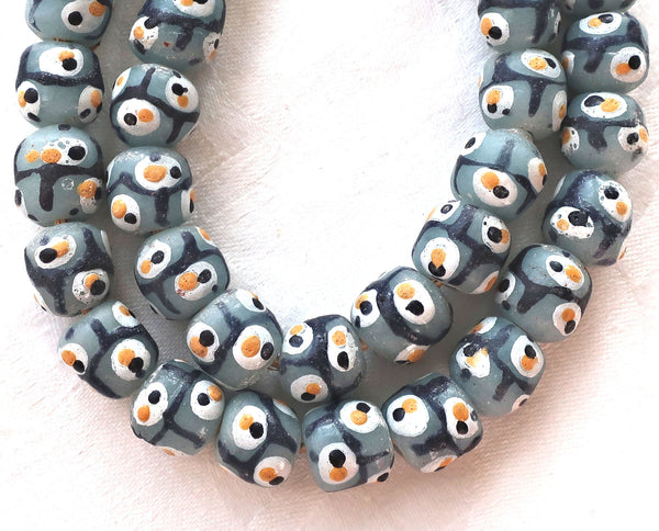 Lot of 5 African Krobo round evil eye glass beads, gray, black , white and yellow 11-12mm big hole rustic, earthy beads - Glorious Glass Beads
