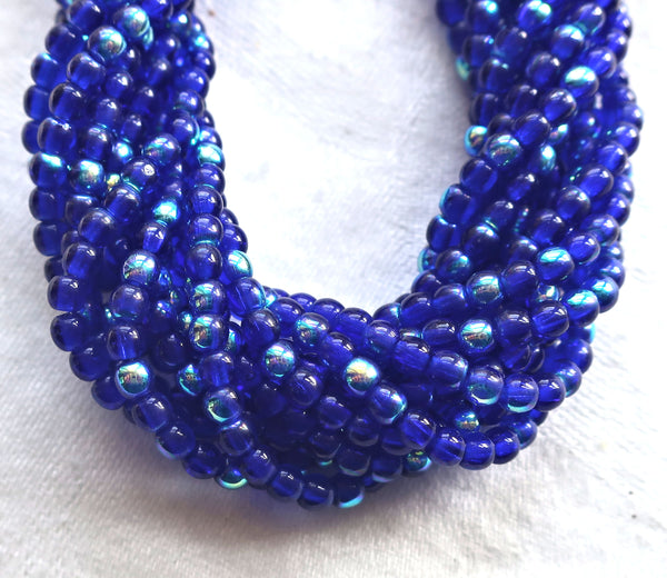 Lot of 100 3mm cobalt blue AB Czech glass druks, smooth round druk beads C6401 - Glorious Glass Beads