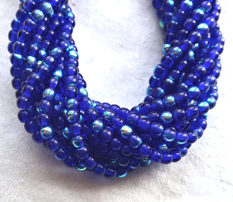 Lot of 100 3mm cobalt blue AB Czech glass druks, smooth round druk beads C6401