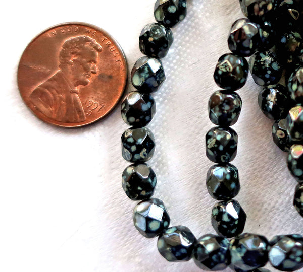 Lot of 25 8mm Jet black Czech glass beads with a picasso finish, speckled, firepolished, faceted, round beads C5725 - Glorious Glass Beads